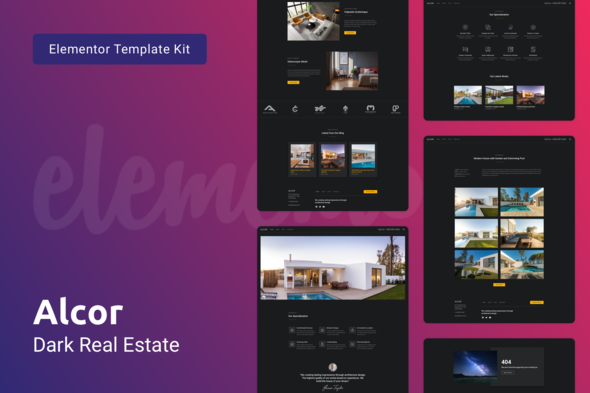 Alcor - Dark Real Estate Elementor Template Kit