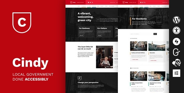 Cindy – Accessible Local Government WordPress Motyw
