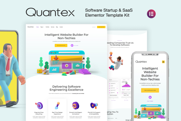Quantex - Software Startup & SaaS Elementor Template Kit