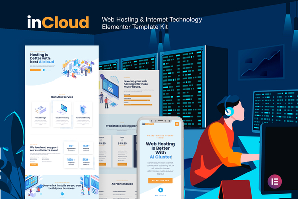 inCloud - Web Hosting Elementor Template Kit