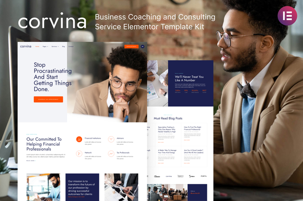 Corvina - Business Coaching & Consulting Service Elementor Template Kit