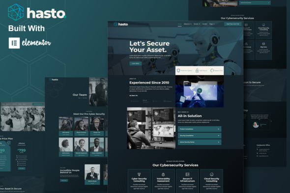 Hasto – Cyber Tech Security Service Elementor Zestaw Templatek Elementor