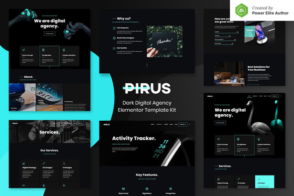 PIRUS – Dark Digital Agency Elementor Zestaw Layoutów Elementor