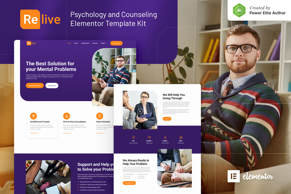 Relive - Psychology & Counseling Elementor Template Kit
