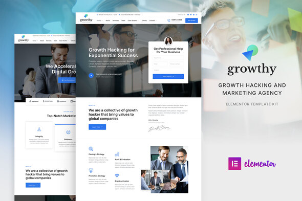 Growthy – Growth Hacking & Marketing Agency Elementor Zestaw Layoutów Elementor