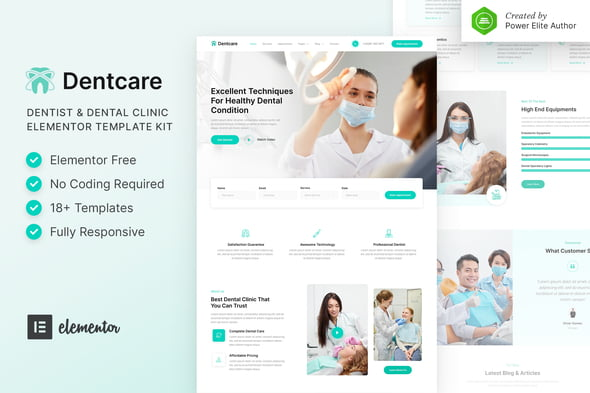 Dentcare – Dentist & Dental Clinic Elementor Zestaw Layoutów Elementor